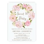 "Romantic Peonies Wreath Sweet Sixteen Invitation 5"" X 7"" Invitation Card"