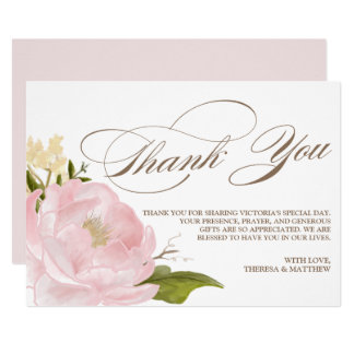 Romantic Peony Flower Flat Thnk You Card