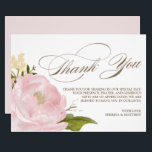 """Romantic Peony Flower Thank You Card<br><div class=""""desc"""">Pretty thank you card featuring watercolour pink peony illustration. Perfect thank you card for weddings,  graduation and other events. This is a part of a wedding suite. A 5&quot; x 7&quot; flat card is available.</div>"""