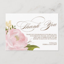Romantic Peony Flower Thank You Card