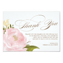 Romantic Peony Flower Thank You Card