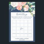 "Romantic Peony Flowers | Blue Bridal Bingo Game Flyer<br><div class=""desc"">This romantic peony flowers blue &quot;bridal bingo&quot; game is perfect for an elegant bridal shower. The floral design features blush pink,  peach and white cascading watercolor flowers on a navy blue background. Personalize the front of the card with the name of the bride and the shower date.</div>"