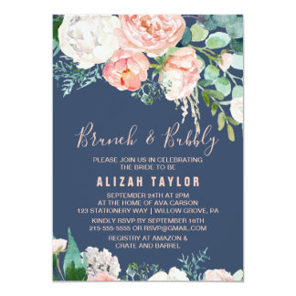 Romantic Peony Flowers | Blue Brunch & Bubbly Card