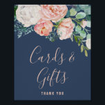 "Romantic Peony Flowers | Blue Cards & Gifts Sign<br><div class=""desc"">This romantic peony flowers blue cards and gifts sign is perfect for an elegant wedding. The floral design features blush pink, peach and white cascading watercolor flowers on a navy blue background. The line of text at the bottom of the sign can be personalized with the date, the names of...</div>"