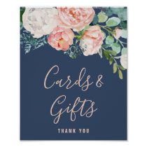 Romantic Peony Flowers | Blue Cards & Gifts Sign