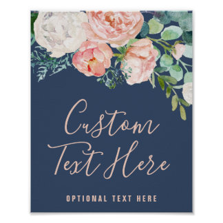 Romantic Peony Flowers | Blue Custom Text Sign
