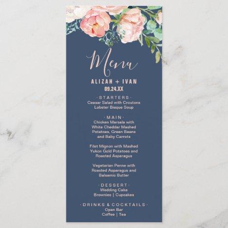 Romantic Peony Flowers | Blue Dinner Menu Card