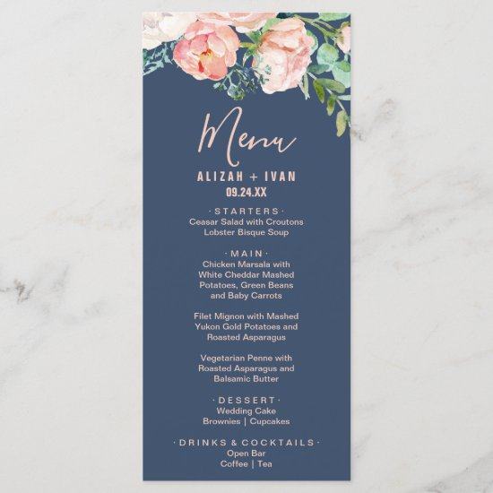 Romantic Peony Flowers | Blue Dinner Menu Card