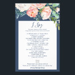"""Romantic Peony Flowers   Blue I Spy Game Flyer<br><div class=""""desc"""">This romantic peony flowers blue &quot;I Spy&quot; game is perfect for an elegant wedding reception. The front of the game card features &quot;find the guest&quot;, and the back of the card features &quot;I spy&quot;. The floral design features blush pink, peach and white cascading watercolor flowers on a navy blue background....</div>"""
