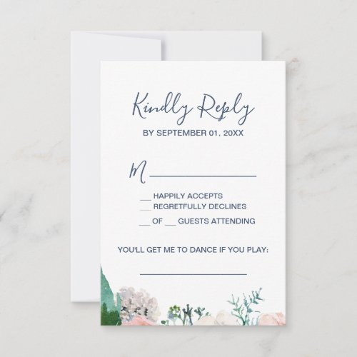 Romantic Peony Flowers Blue Song Request RSVP Card