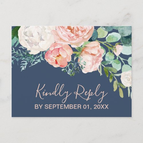 Romantic Peony Flowers | Blue Song Request RSVP Invitation Postcard