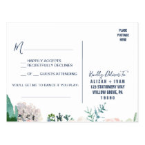 Romantic Peony Flowers   Blue Song Request RSVP Postcard