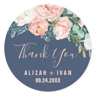 Romantic Peony Flowers | Blue Thank You Favor Classic Round Sticker