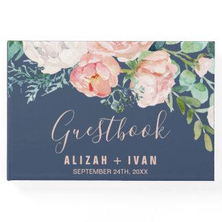 Romantic Peony Flowers | Blue Wedding Guest Book