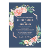 Romantic Peony Flowers | Blue Wedding Invitation