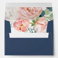 Romantic Peony Flowers | Blue Wedding Invitation Envelope