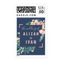 Romantic Peony Flowers   Blue Wedding Invitation Postage