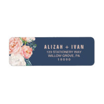 Romantic Peony Flowers | Blue Wedding Label