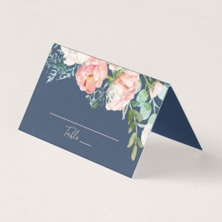 Romantic Peony Flowers | Blue Wedding Place Card