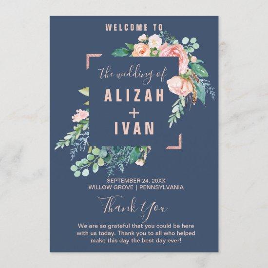 Romantic Peony Flowers | Blue Wedding Program
