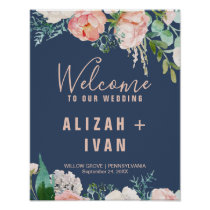 Romantic Peony Flowers | Blue Welcome Wedding Poster
