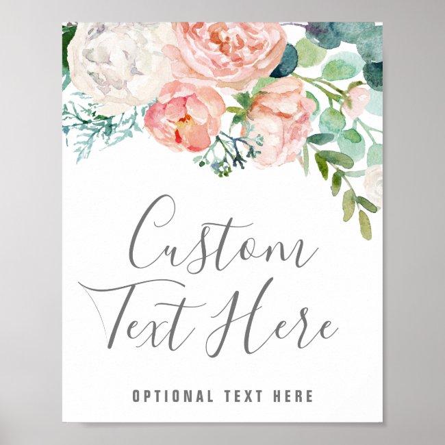 Romantic Peony Flowers Custom Text Sign