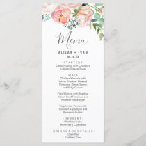 Romantic Peony Flowers Dinner Menu Card