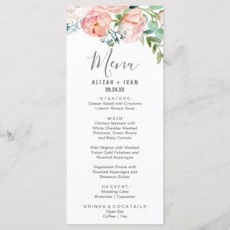 Romantic Peony Flowers Dinner Menu Card