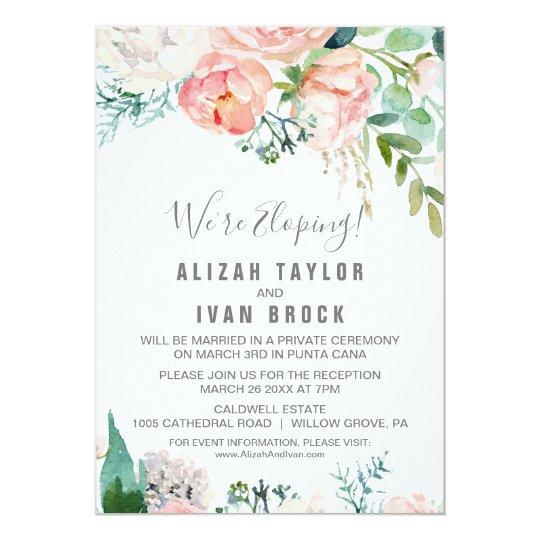 romantic peony flowers elopement reception invitation zazzle com