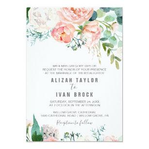Peony Flowers Formal Wedding Invitation