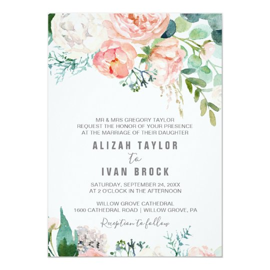 Romantic Peony Flowers Formal Wedding Invitation | Zazzle.com