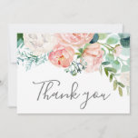 """Romantic Peony Flowers Thank You Card<br><div class=""""desc"""">This romantic peony flowers thank you card is perfect for an elegant wedding. The floral design features blush pink,  peach and white cascading watercolor flowers. Personalize the card with your thank you message and names.</div>"""