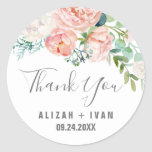 "Romantic Peony Flowers Thank You Wedding Favor Classic Round Sticker<br><div class=""desc"">These romantic peony flowers thank you wedding favor stickers are perfect for an elegant wedding. The floral design features blush pink, peach and white cascading watercolor flowers. Personalize the sticker labels with your names, the event (if applicable), and the date. These stickers can be used for a wedding reception, bridal...</div>"