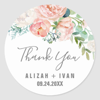 Romantic Peony Flowers Thank You Wedding Favor Classic Round Sticker
