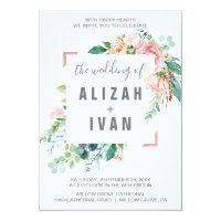 Romantic Peony Flowers The Wedding Of Invitation