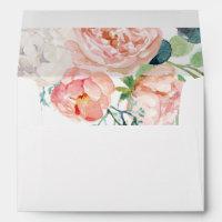 Romantic Peony Flowers Wedding Invitation Envelope