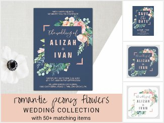 Romantic Peony Flowers Wedding Invitation Suite
