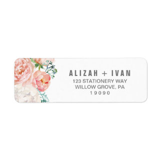 Romantic Peony Flowers Wedding Label
