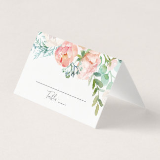 Romantic Peony Flowers Wedding Place Card