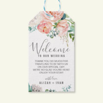 Romantic Peony Flowers Wedding Welcome Gift Tags