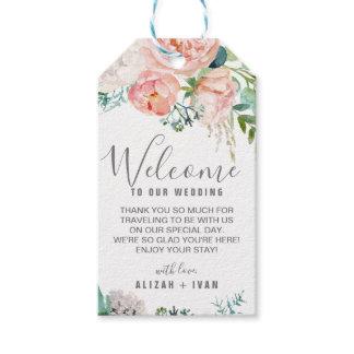 Romantic Peony Flowers Wedding Welcome Gift Tags