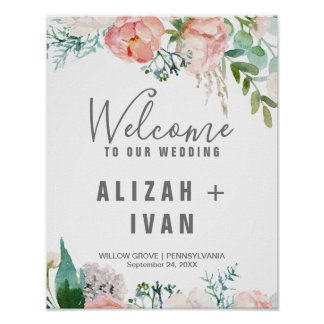 Romantic Peony Flowers Welcome Wedding Poster