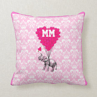 Romantic personalized pink heart  damask throw pillow