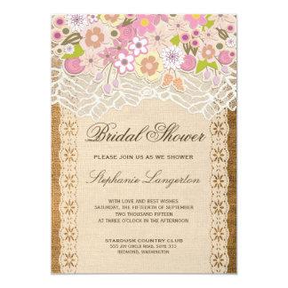 Romantic Petite Flowers On Lace Burlap Card