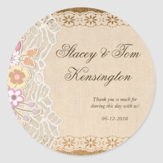 Romantic Petite Flowers On Lace Burlap Classic Round Sticker