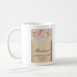 Romantic Petite Flowers On Lace Burlap Coffee Mug