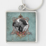 Romantic Photo Frame Scrapbook Style Silver-Colored Square Keychain