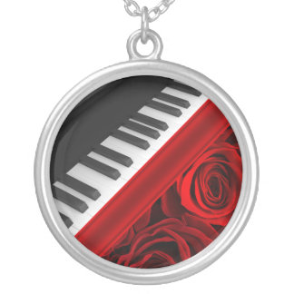 Romantic Piano and Roses Silver Plated Necklace