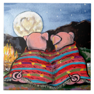 Romantic Pigs in a Blanket, Moon Designer Tile