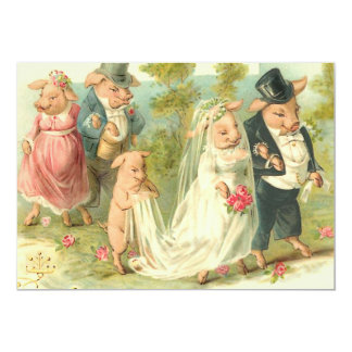 Romantic Pigs 5x7 Paper Invitation Card